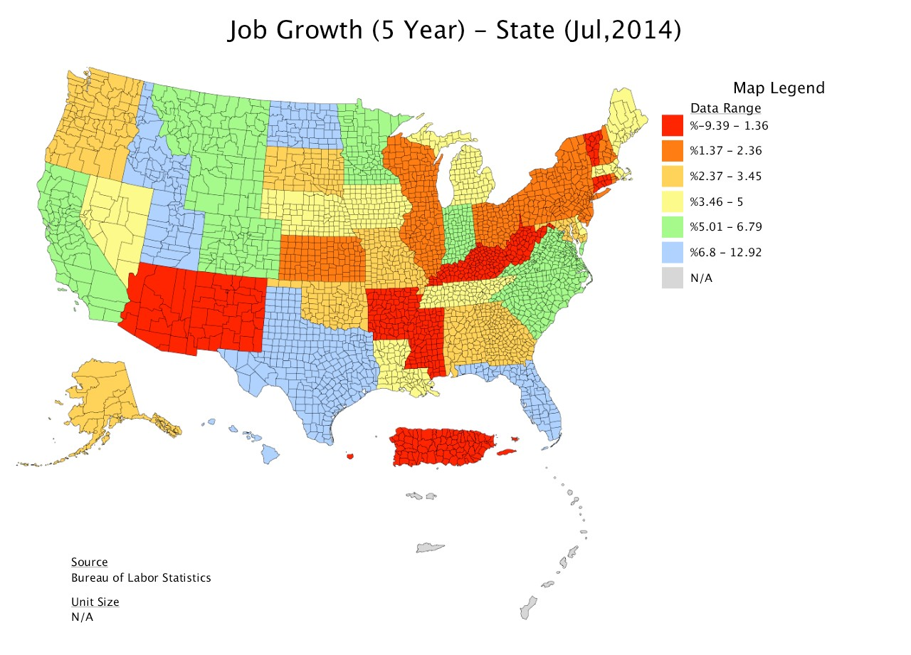 Job Growth A Surprise From Michigan And City Sectors Lumesis - Us map job growth